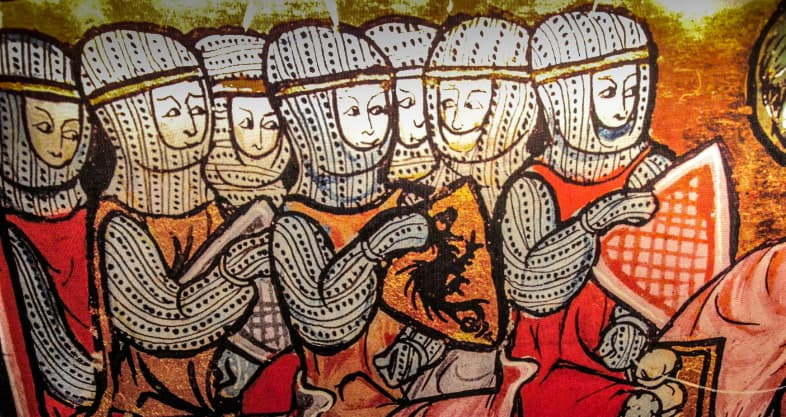 Painting of the Templars from the exhibition in the Templars Crusader Tunnel