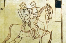 Depiction of two Templars seated on a horse (emphasizing poverty)